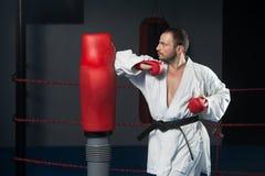 Специалист бойца Тхэквондо с позицией боя Стоковая Фотография RF