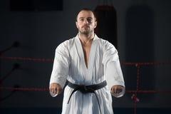 Специалист бойца Тхэквондо с позицией боя Стоковые Фото