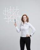 Специалист по женщины и городской плановик работая с взаимодействующим метро составляют карту Стоковое фото RF
