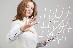 Специалист по женщины и городской плановик работая с взаимодействующим метро составляют карту Стоковая Фотография RF