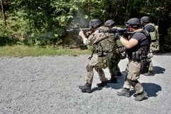 Специальное подразделение милиции в тренировке Стоковое Изображение