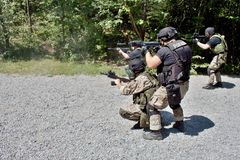 Специальное подразделение милиции в тренировке Стоковые Изображения