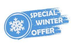 Специальное предложение зимы с знаком снежинки, нарисованным знаменем иллюстрация вектора