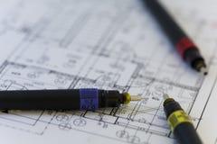Специальные ручки для архитектора на архитекторе планируют Стоковое Изображение