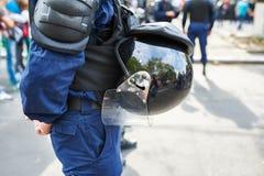 Специальный кордон полиций на демонстрации Стоковые Изображения RF
