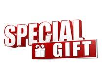 Специальный подарок с присутствующей коробкой подписывает внутри письма 3d и блок иллюстрация вектора