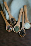 Специи в деревянных ложках Стоковое фото RF