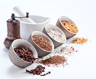 Специи в малых керамических чашках Стоковая Фотография