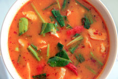 Специи еда куриного супа Тома Yum тайские, взгляд сверху Стоковая Фотография