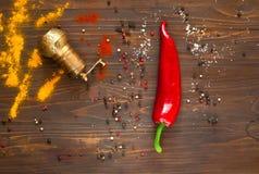 Специи и красный пеец на деревянной предпосылке Предпосылка с специями, мельница перца металла Взгляд сверху Стоковое Изображение RF