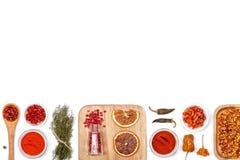 Специи и травы на белой предпосылке Взгляд сверху Стоковые Фотографии RF