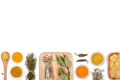 Специи и травы на белой предпосылке Взгляд сверху Стоковые Изображения RF
