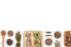 Специи и травы на белой предпосылке Взгляд сверху Стоковое фото RF