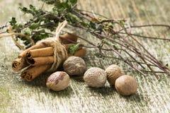 Специи и травы на старой деревянной предпосылке Стоковое Изображение RF