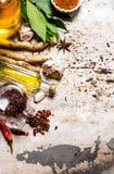 Специи и травы - поперчите, лист залива, чеснок, порошок кориандра, и другие Стоковые Фотографии RF