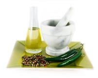 специи пестика масла ступки Стоковые Фото