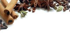 Специи рождества, чай или изолированные ингридиенты выпечки на зима, Стоковое Изображение