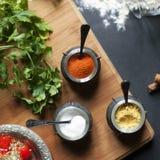 Специи, соль, паприка и овощи Стоковое фото RF