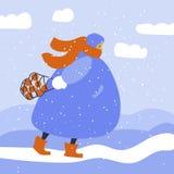 Спешащ женщина снаружи в одеждах зимы с сумкой бесплатная иллюстрация