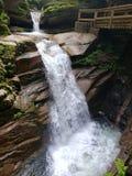 Спеша вода создает красивый водопад стоковая фотография