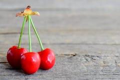 3 спелых сладостных вишни изолированной на винтажной деревянной предпосылке с пустым космосом для текста Предпосылка лета fruity Стоковое Изображение