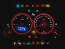 Спидометр автомобиля, взгляд современной автоматической панели реалистический бесплатная иллюстрация