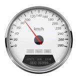 Спидометр Белый датчик скорости с рамкой металла 90 km в час иллюстрация штока