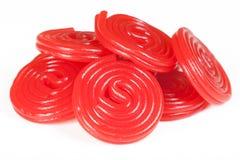 спирали красного цвета кучи солодки стоковое изображение