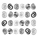 Спирали нарисованные рукой в различных формах иллюстрация штока