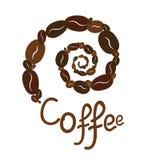 Спиральные кофе и текст стоковые фотографии rf