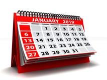 Спиральный календарь январь 2019 Календарь января 2019 в белой предпосылке иллюстрация 3d бесплатная иллюстрация