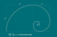 спираль коэффициента fibonacci золотистая Стоковое фото RF