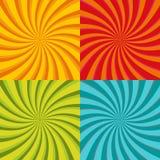 Спиральное starburst, комплект предпосылки sunburst Линии, нашивки с twirl, вращая эффектом искажения Красный, желтый, зеленый и иллюстрация вектора