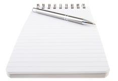 Спиральные блокнот и ручка Стоковое Изображение