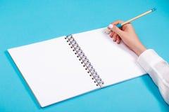 Спиральный блокнот с карандашем как модель-макет для дизайна Стоковая Фотография