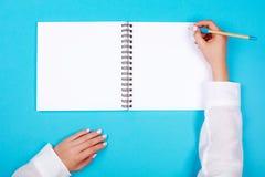 Спиральный блокнот с карандашем как модель-макет для дизайна Стоковое Фото