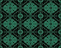 Спираль fl кривой античной безшовной зеленой предпосылки восточная азиатская Стоковое Изображение