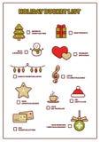 Список ведра праздника, смешной плановик суеты на каникулы рождества Стоковая Фотография