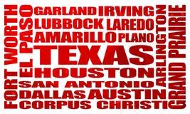 Список городов положения Техаса иллюстрация штока
