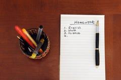 список домашней работы Стоковые Изображения