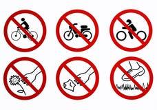 Список запретов используемых в некоторых общественных парках Не ехать мотоцикл, парк мотоцикл, сор хода, цветки выбора и шаг даль бесплатная иллюстрация