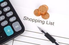 Список покупкы стоковое фото