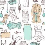 Список покупок в изображениях. Картина одежды женщин в roma иллюстрация штока