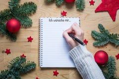 Список целей рождества сочинительства с названием я хотел был бы в немце дальше Стоковое фото RF