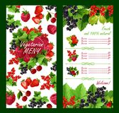 Список цен на товары вектора для свежего рынка ягод сада Стоковая Фотография