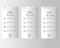 Список цен на товары, 3 тарифа Установите тарифы интерфейс для места Стоковые Фотографии RF