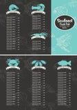 Список цен на товары для морепродуктов иллюстрация вектора