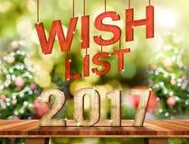 Список целей 2017 номеров на столешнице Брайна деревянной с абстрактной нерезкостью Стоковое Изображение