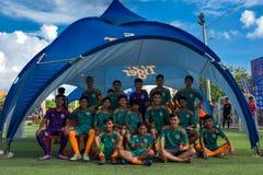 Спичка камбоджийской команды ждать, Kampot Камбоджа стоковые фото