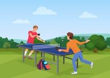 Спичка пингпонга настольного тенниса на природе Иллюстрация вектора 2 друзей играя пингпонг Стоковая Фотография RF